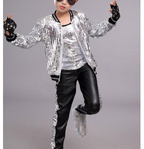 Boy silver gold sequin jazz dance costumes kids hiphop gogo dancers drummer host stage performance singers rap dance tops and pants