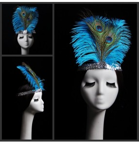 Women's peacock feather samba dance headdress hair accessories modern dance stage performance hair clip