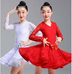 GIrls red white colored lace latin dance dresses competition stage performance latin dance dress costumes