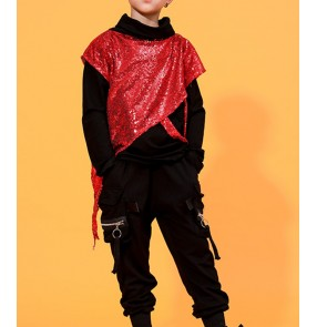 Boys kids black with red sequin hiphop dance costumes street modern dance outfits drummer model singers gogo dancers performance cosutmes
