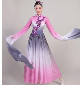 Women's pink chinese hanfu fairy princess cosplay dresses tradtiional dance dress water sleeves stage performance umbrella fan dance dresses