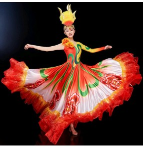 Women's flamenco dresses spanish bull dance dress chorus singers costumes stage performance opening dance ballroom dresses