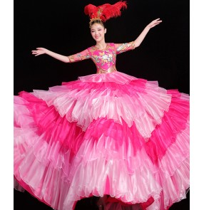 Women's pink petals spanish flamenco dress bull dance stage performance chorus ballroom dance dresses