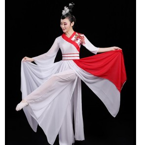 Women's white with red ancient traditional fairy dresses hanfu stage performance umbrella traditional classical dance dresses