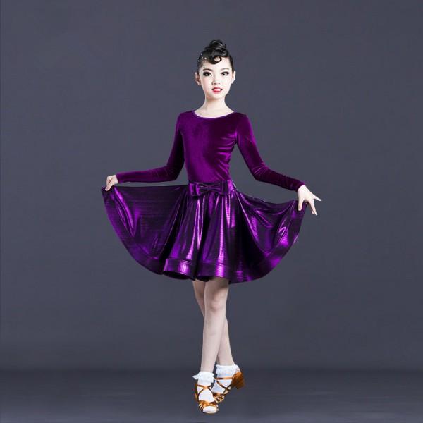 Dancewear Performance Dresses Womens//Childrens Performance Chiffon//Velvet 1 Piece Short Sleeve Dress