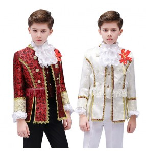 Boy kids European palace prince drama cosplay dress coats and pants Europe court stage performance suit