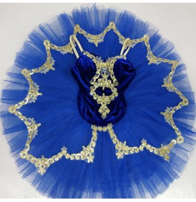 Kids royal blue little swan lake velvet ballet dance dresses stage performance tutu skirts ballet dance costumes