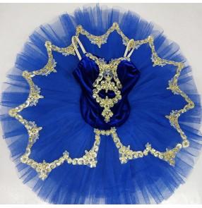 Kids royal blue little swan lake velvet ballet dance dresses stage performance tutu skirts ballet dance costumes