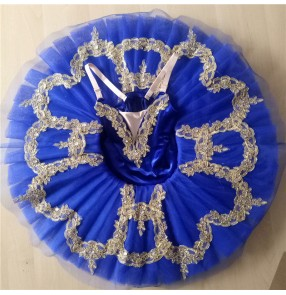 Kids baby royal blue velvet swan lake ballet dance dresses girls ballerina ballet dance costumes tutu skirts