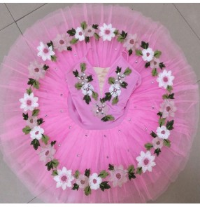 Pink flowers girls kids little swan lake ballet dance dress tutu skirt classical ballet dress stage performance ballet dance costumes