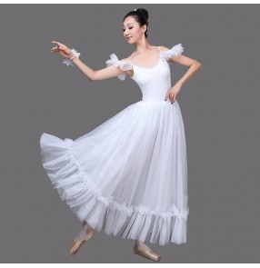 Women's white pink modern dance ballet dance dress stage performance ballet dance costumes dress