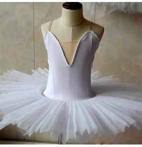 Kids girls royal blue white ballet dance dress stage performance ballet dance costumes dress