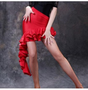 Red irregular ruffles hem latin dance skirts for women salsa chacha dance skirts