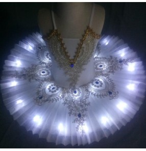 Kids led light white blue pink ballet dance dresses modern dance tutu skirt classical ballerina ballet dance dress