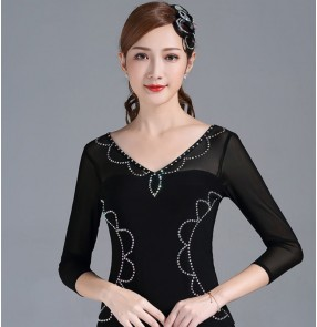 Women's black with rhinestones ballroom latin dance tops long sleeves blouses square dance salsa chacha dance tops