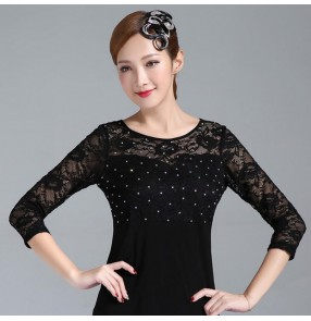 Women's lace rhinestones black ballroom latin dance tops long sleeves salsa rumba chacha dance tops