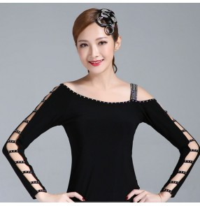Women's rhinestones black latin ballroom dance tops salsa rumba chacha dance one shoulder blouses
