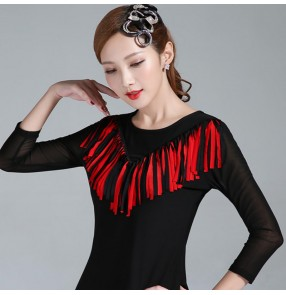 Black with red fringes women female latin ballroom dance tops long sleeves salsa rumba chacha dance tops