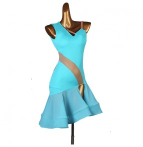 Women's turquoise latin dance dresses salsa rumba stage performance dance dresses