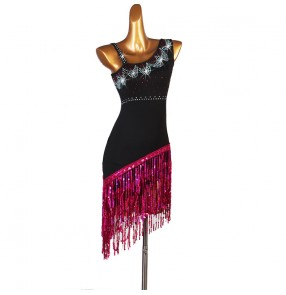 Women's black with fuchsia fringes competition latin dresses salsa rumba chacha dance dress