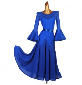 Women's royal blue ballroom dancing dresses waltz tango dance dress costumes