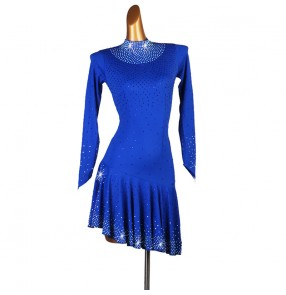 Women's rhinestones competition royal blue violet latin dance dresses samba salsa rumba chacha dance dresses