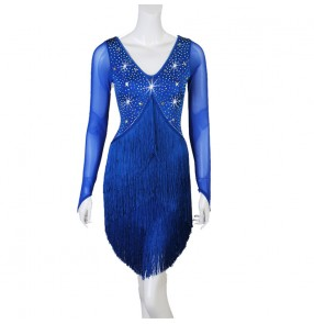 Women's royal blue rhinestones competition latin dance dresses salsa rumba chacha dance dresses