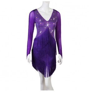 Women's purple rhinestones fringes competition latin dance dresses salsa  rumba chacha dance dresses