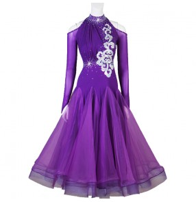 Violet competition ballroom dancing dresses for women girls waltz tango dance dresses