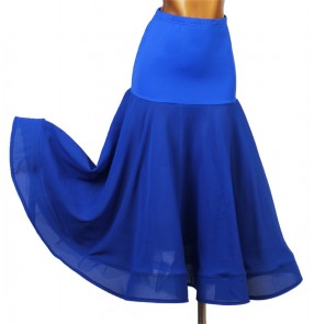 women's Royal blue ballroom dancing skirts stage performance waltz tango dance skirts costumes
