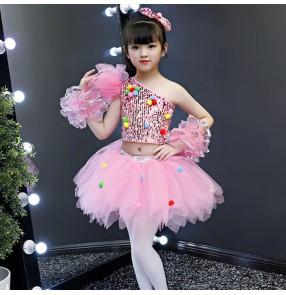 Girls kids silver pink blue sequins modern jazz dance dresses singers chorus host kindergarten stage performance dress costumes