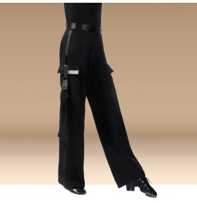Men's boy's competition ballroom latin dance pants pockets dance pants salsa chacha rumba dance pants trousers