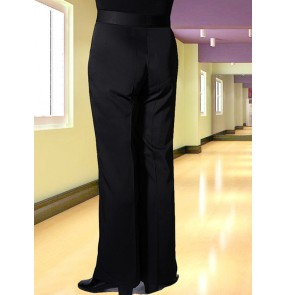 Plus size Men's black ballroom latin dance pants stage performance chacha dance pants