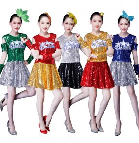Women's sequins modern dance jazz cheer leaders cotumes female stage performance movies gogo dancers tops and skirts