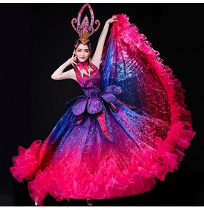 Women's pink with purple famenco dresses ballroom dresses opening dance chorus stage performance choir dresses