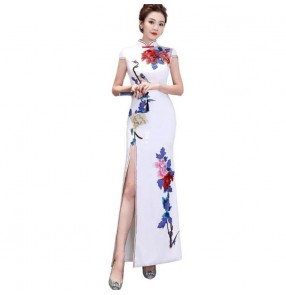 Chinese dresse women chinese retro qipao dress host singers miss etiquette model show performance evening dresses
