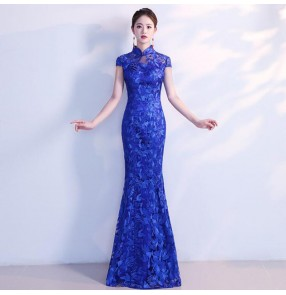 Chinese dress qipao dress for women china oriental retro lace singer host miss etiquette stage performance dresses