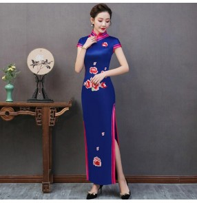 Chinese dresses women's qipao dresses retro traditional host singers miss etiquette performance evening dresses