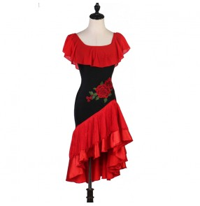 Women's black with red girls fringes latin dance dresses rhythm salsa chacha dance dress