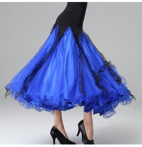 Royal blue green purple ballroom dancing skirts for women female waltz tango dance skirts