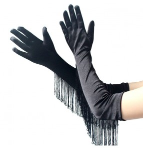 Women's latin ballroom dance fringes long gloves stage performance satin long gloves