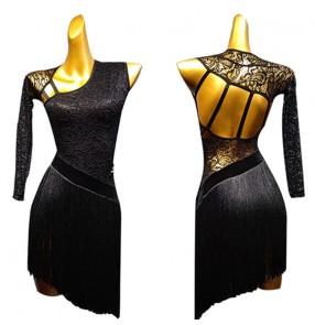 Women's lace fringes black latin dance dresses salsa rumba chacha dance dresses