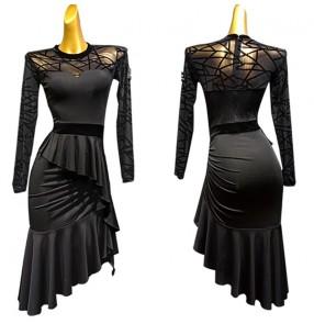 Women's lace long sleeves latin dance dress pratice performance salsa rumba chacha dance dress