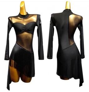 Women's black fringes latin dance dress salsa chacha dance bodysuit dresses