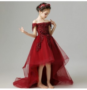 Girls kids piano stage performance dresses wine lace evening party host singers model show trailing evening dresses