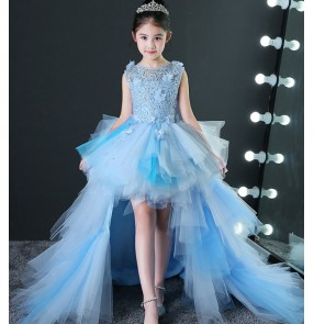 Girls kids piano model show performance trailing dresses birthday evening party photos cosplay princess dresses