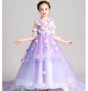 Girls kids light purple pianist evening model show singer host party performance dresses flower girls wedding party dress