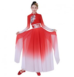 Women's red Chinese folk dance costumes traditional classical dance dress Chinese yangko fan umbrella dance dresses