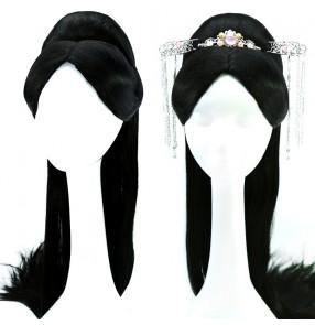 Chinese ancient hanfu princess hair wig straight long hair anime drama princess fairy film drama cosplay wig with headdress