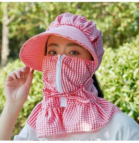 2pcs Anti-spitting sunscreen mask sun hat mouth cover summer riding sun protection sun hat for women